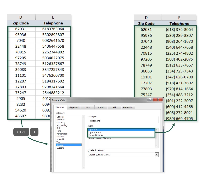 Zip Codes & Phone Numbers  Excel Maven